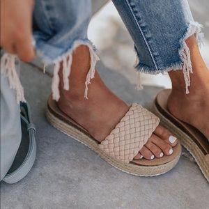 Beige Braided One Band Platform Slip On Sandal